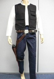 Han Solo full costume with Shirt, Vest, Striped trousers, and belt with attachments.