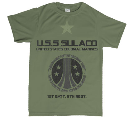 aliens inspired uscm uss sulcaco tshirt
