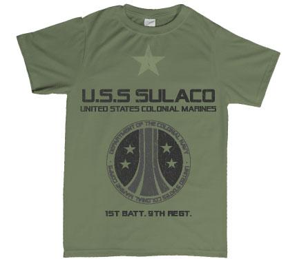 aliens inspired uscm uss sulcaco tshirt
