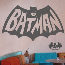 Batman wall sticker 1960's version + free name in a batwing!