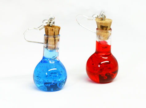 Health And Mana Potion Bottles Earrings Resin Props And