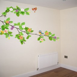 "HUGE 200cm 78"" Branch with leaves & flowers. Easy to apply peel & stick wall art."