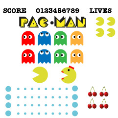 PacMan wall art, retro bedroom sticker