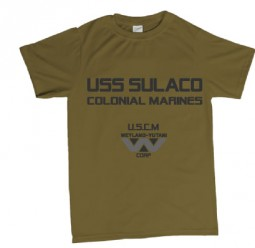 USS Sulaco USCM Aliens inspired tshirts - brown